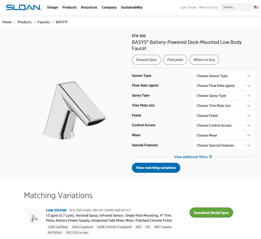 新版的规格说明书和增强版的搜索功能使商业洗手间设计变得更容易。