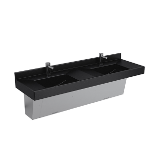 Deluxe Lavatory Countertop Sleek And Clean With A Gentle Slope To Ensure  Dry Surfaces.