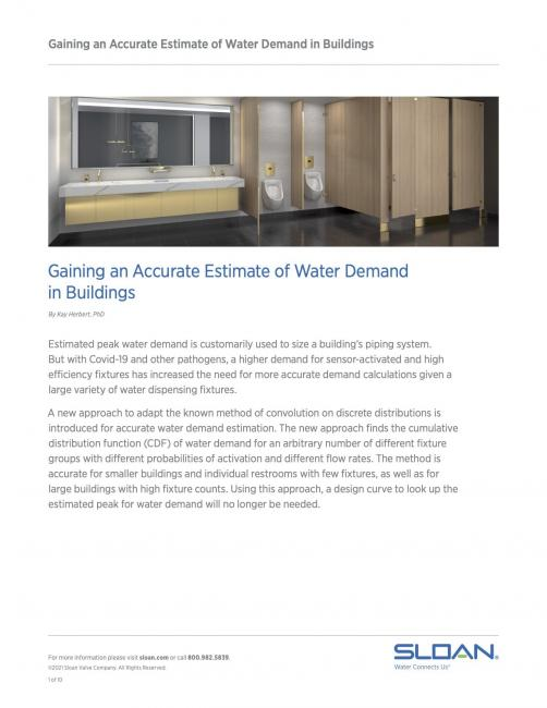 Gaining an Accurate Estimate of Water Demand in Buildings