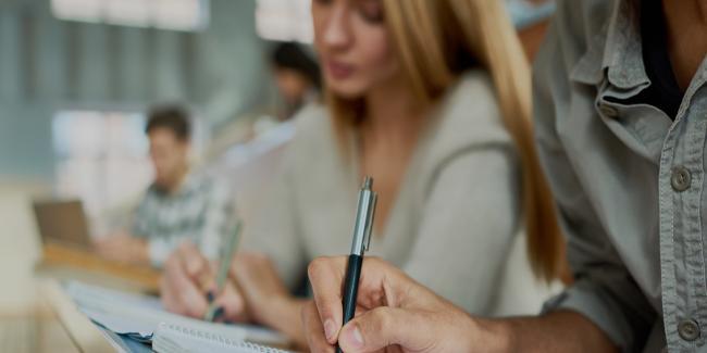 Students taking written exams