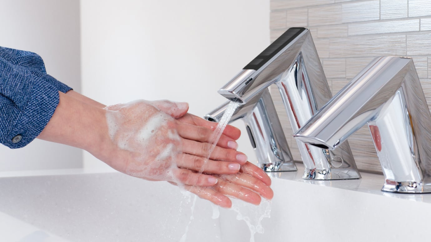 Up close photo of hands washing