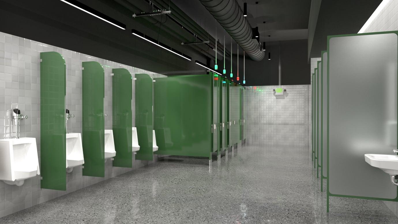 公共卫生间内的小便池和座便器视图