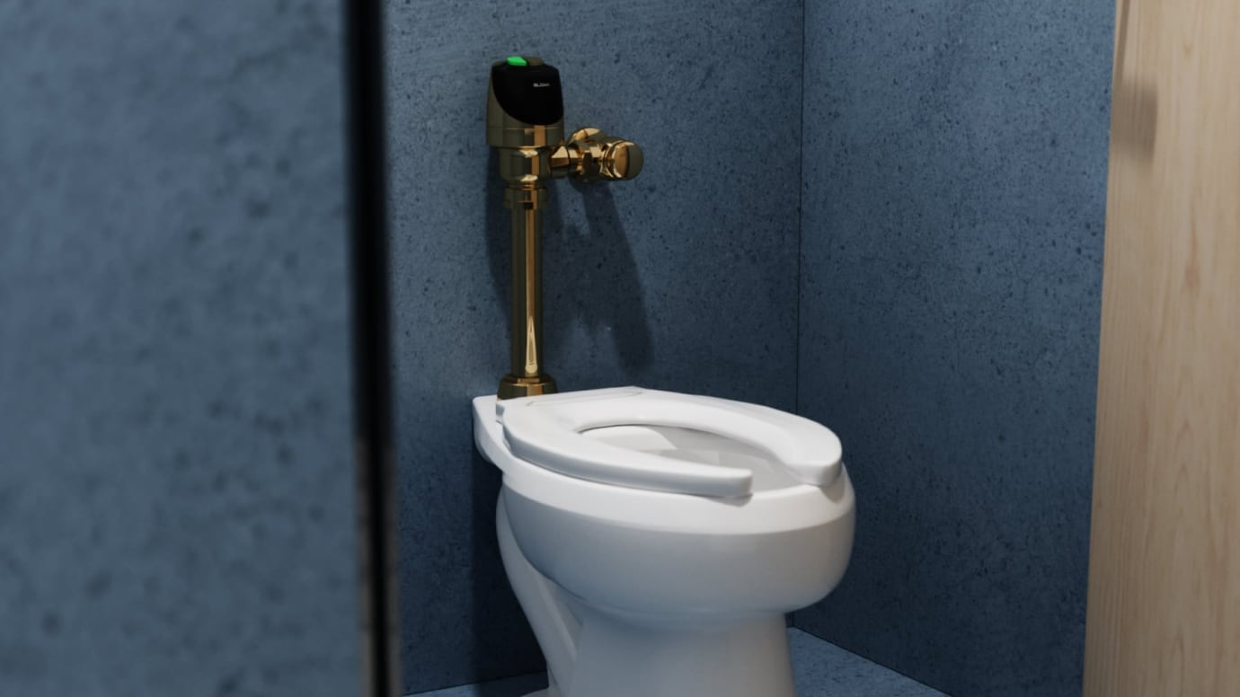 Focused shot of a water closet with a sensor flushomter in polished brass finish