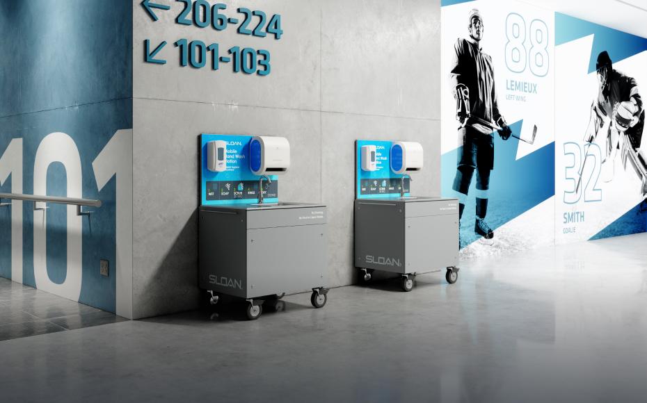 两张移动式洗手台展示图